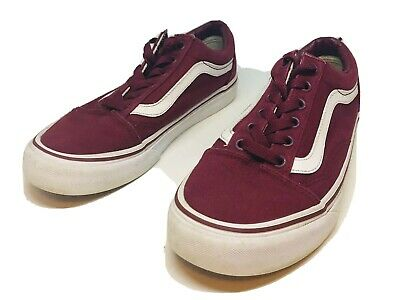 MENS VANS BURGUNDY Red Canvas Trainers Uk 8 Lace Up Summer