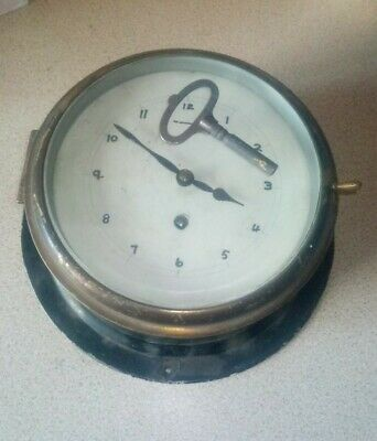 "Smiths Astral Brass Ships Bulkhead Clock 1940's  8"" face, back plate 10.5"""