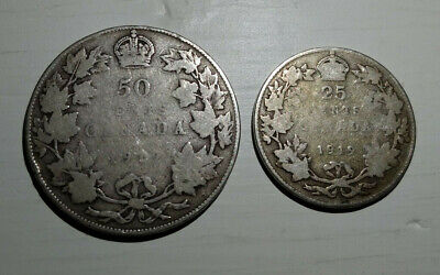 Lot of 2 Coins of Canada 1919 50 Cents 1919 25 Cents Sterling Silver