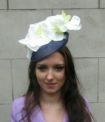 Navy Blue Cream Floral Orchid Flower Saucer Disc Hat Fascinator Races Hair 9096