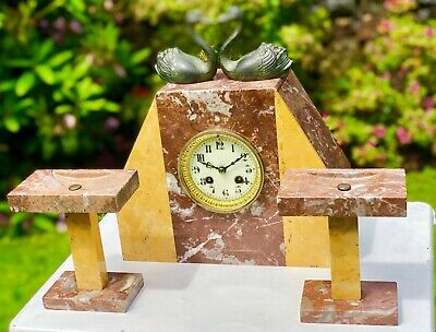 Art Deco Antique Marble Wind Up Mantle Clock Kissing Heart Shaped Swan Design
