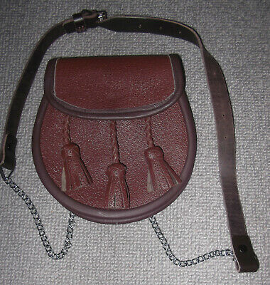 VINTAGE LEATHER SPORRAN HAND CRAFTED IN SCOTLAND by JANET EAGLETON MBE - NEW !