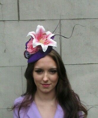 Cadbury Purple Light Blush Pink Coral Plum Flower Hat Fascinator Races Lily 9098