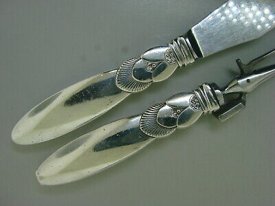 Vintage Two Piece Georg Jensen Denmark Sterling Silver Cactus Carving Set