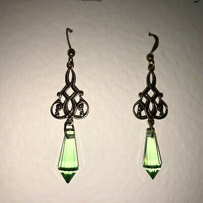 VICTORIAN STYLE DARK GOLD PL EARRINGS LONG LIGHT GREEN FACETED glass DROPS hook