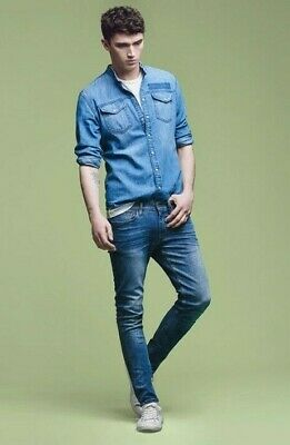 """Ted Baker London """"Tectrix"""" Blue Tapered Fit Denim Jeans W 28 Leg 32 Rrp £95 New"""