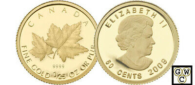 2009 Proof 1/25oz Gold 'Red Maple' .9999 Fine Coin (12469)