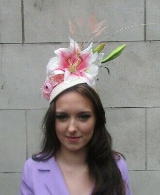 Light Nude Blush Pink Cream Lily Flower Hat Races Fascinator Feather Large 0004