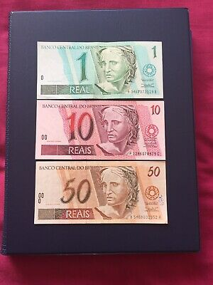 Brazilian Rials 1,10 & 50 Denomination Bank Notes. Ideal For Collection.