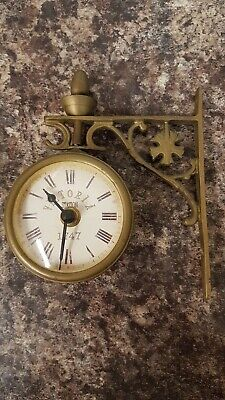 "Vintage ""Victoria Station 1747"" Swivel Wall Clock Brass Case Working"