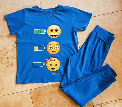 Next Boys Emoji Pyjamas Joggers Blue Age 12