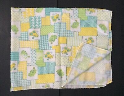 Vtg Curity Baby Blanket Elephant Mouse Lightweight Flannel Security Blankey