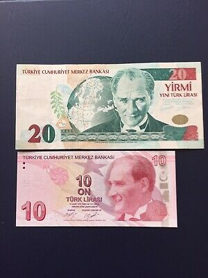 Turkish Lira 20 & 10 Denomination Bank Notes.Ideal For An Avid Note Collector
