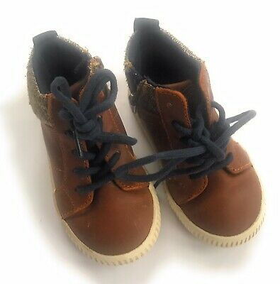 Zara Baby Toddler Boy Shoes Boots Brown  Size 22 US 6 Toddler Faux Leather