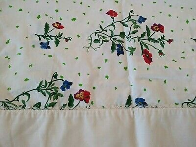 Vintage Wamsutta Standard Pillowcases Red Blue Floral