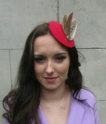 Red Brown Gold Pheasant Feather Pillbox Hat Fascinator Hair Clip Races Vtg 0009