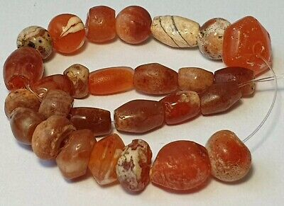 27 Ancient Rare Indo-Tibetan Carnelian Patinized Agate Beads