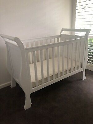 Genesis Sleigh Cot And Toddler Bed With Mattress And Bedding, Sheets Protectors
