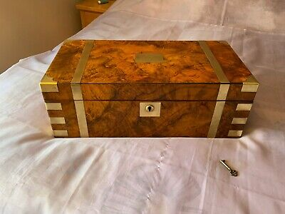 Large Victorian Writing Slope/ Box With Secret Drawers Working Lock & Key