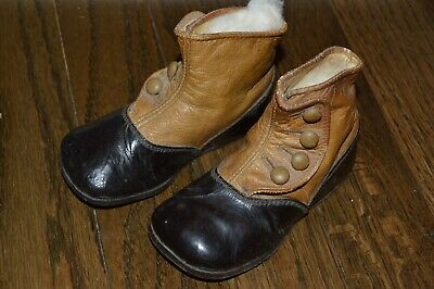 ~Antique PAIR of Victorian BABY CHILD Shoes~High Button Up~Tan/Brown Leather~