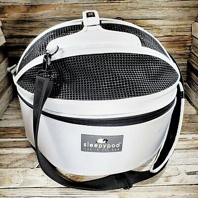 Sleepypod White Mobile Dog Cat Pet Carrier Car Seat Bed Zipper Safety Padded
