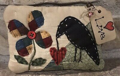 Primitive Made Crow Hanging Heart *Love* Shelf Pillow-Made From Vintage Quilt