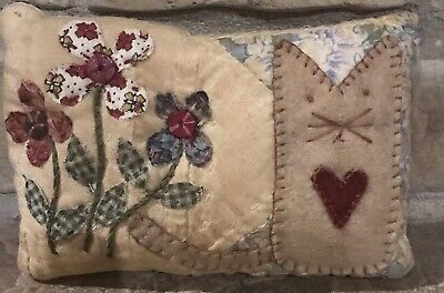 Primitive * Kitty & Flowers* Shelf Pillow-Made From Vintage Quilt