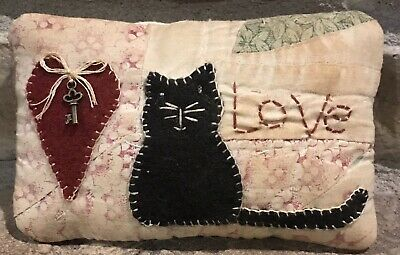 Primitive *Love Kitty* Key To My Heart Shelf Pillow-Made From Vintage Quilt