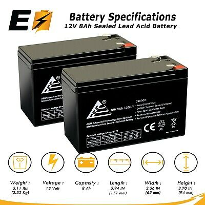 2 Pack AB1290 12V 9AH SLA Battery Replacement for BB SH1228W