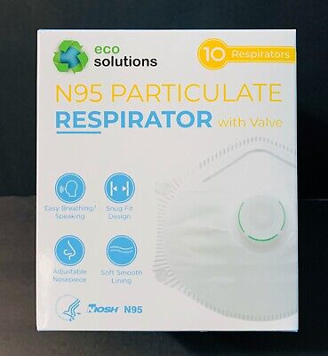 Eco Solutions N95 Particulate Respirator Dust Mask W/Exhalation Valve, 10 masks