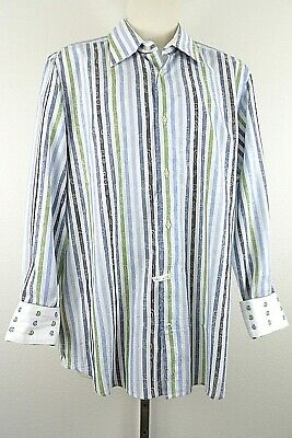 Lot Of 2 Robert Graham Mens Button Up Long Sleeve Striped Flip Cuff Size Large