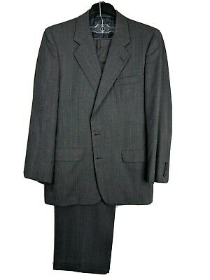 Hickey Freeman 42R (34x29) 100% Wool Gray Striped Pleated 2 Button Suit