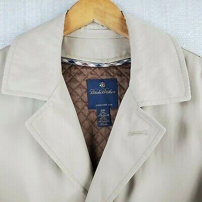 BROOKS BROTHERS 42R Mens Khaki Trench Overcoat Wool Cashmere Lined Double Breast