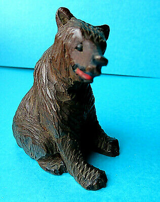 Antique Miniature  Black Forest Carved  Seated Bear  Figure.