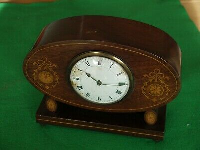 Nice Unusual Working Antique Hardwood Oval Mantel Clock With Key Inlaid Decor
