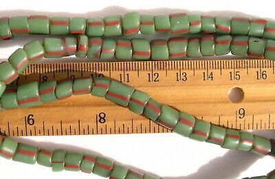 Antique Striped Green Glass Tile Beads African Trade Venetian