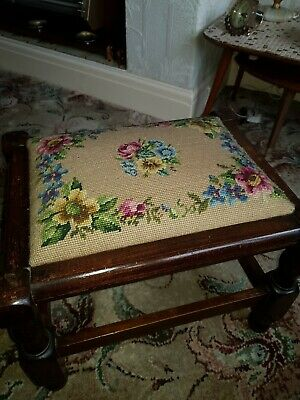 Oak footstool with cross stitched top