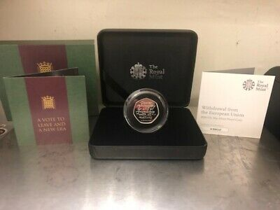 2020 UK BREXIT 50p SILVER PROOF..! COA 43809..!PRESENTATION BOX..! NOW SOLD OUT