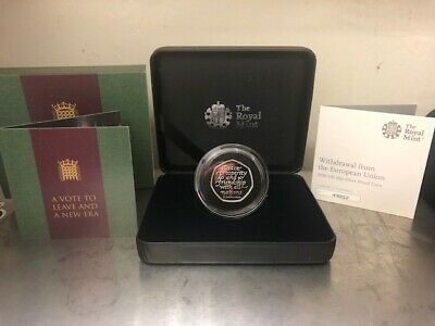 2020 UK BREXIT 50p SILVER PROOF..! COA 43812..!PRESENTATION BOX..! NOW SOLD OUT