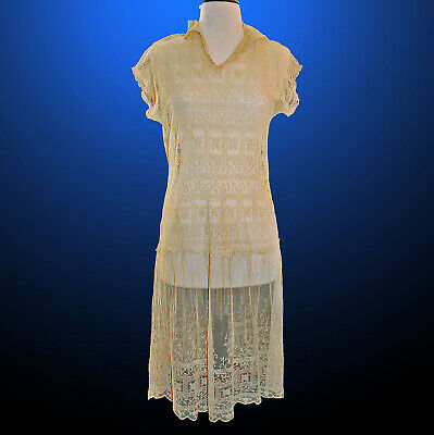 Art Deco Tea Gown Dress Embroidered Needle Lace c1920 Completely Wearable!