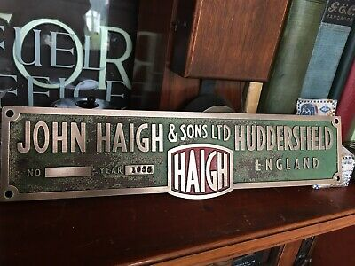 Vintage 1955 Cast Brass sign JOHN HAIGH HUDDERSFIELD