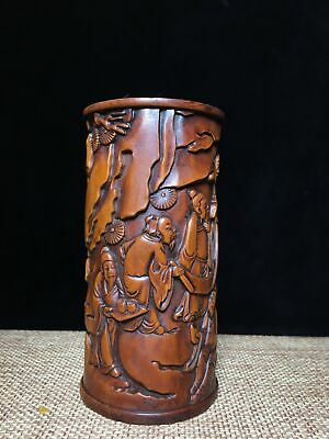 Collectable China Old Boxwood Hand-Carved Scene & Figure Delicate Brush Pot
