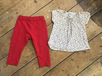 Zara Baby Girls Bundle 12-18 Months Floral Top Red Trousers