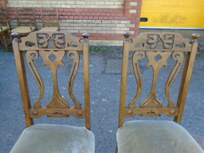 Quality Pair Of Oak Arts & Crafts High Back Chairs For Re Upholster