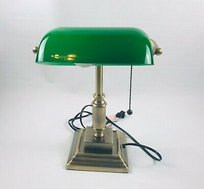 """Realspace Traditional Banker's Lamp, 14-3/4""""H, Green Shade/Antique Brass Base"""