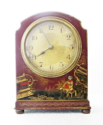 Rare Antique Japy French Chinoiserie Dark Red Lacquer Mantel Clock, Works Well