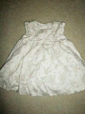 Mothercare Baby Girl's Short Sleeved Cotton Dress 3-6 months with Bunny Pattern
