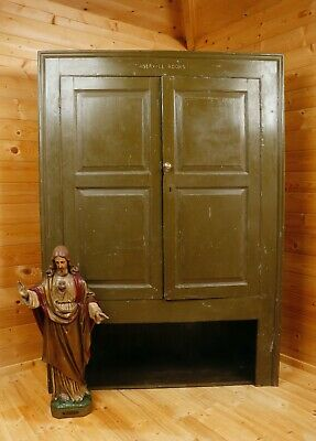 Antique painted pine church / chapel alcove cupboard