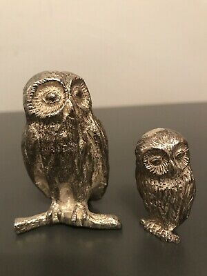 Attractive Pair of Royal Hampshire Art Foundry Silver Plated Owl Figurines