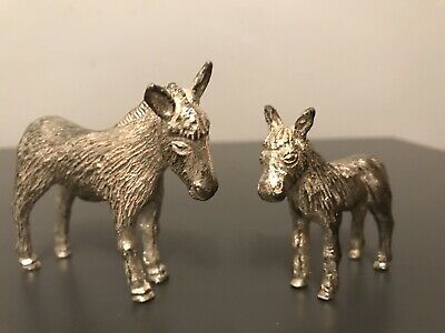 Pair Royal Hampshire Art Foundry Silver Plated DONKEYS